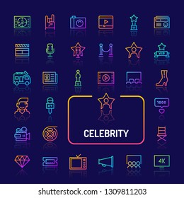 Simple gradient color icons isolated over dark background related to celebrity and superstars. Vector signs and symbols collections for website and app..