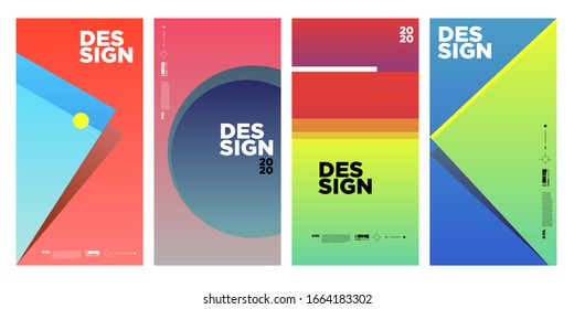 simple and gradient colorful abstract vector geometric background poster design template