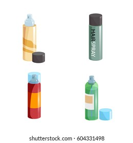 Simple gradient hair spray fixation icons set. Closed   with transparent cap and opened different colors bottles. Hair care and styling accessory vector illustration collection.