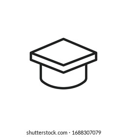 Simple graduation hat line icon. Stroke pictogram. Vector illustration isolated on a white background. Premium quality symbol. Vector sign for mobile app and web sites.
