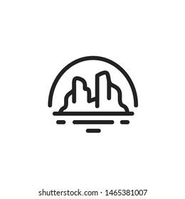 Simple grand canyon line art illustration logo design