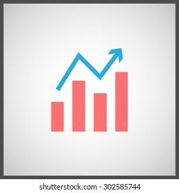 The simple graph with a growth arrow. Stock icon. Vector flat icon