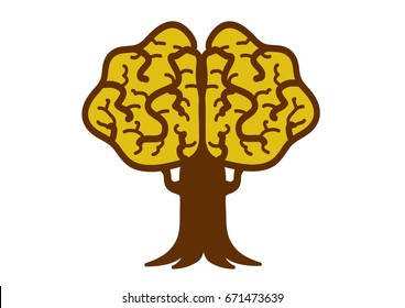 Simple graphic brain Tree shaped like a brain.Concept development of the brain.
