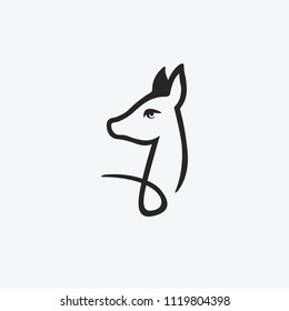 Simple graphic icon of the roe deer's head. creative African, Asian antelope, doe. emblem for the zoo. Vector illustration. Logotype, Logo