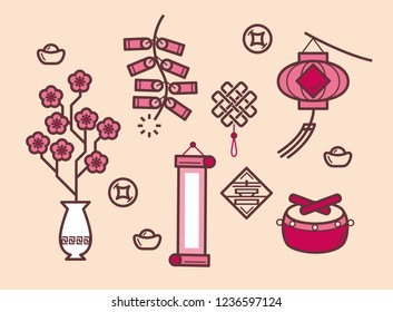 Simple graphic illustration of Chinese New Year festival items (Translation of Chinese word: Happiness)