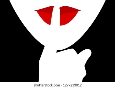 Simple graphic vector illustration of woman putting her forefinger to her lips, silence gesture, be quiet please