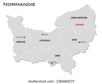 simple gray administrative map of the new french region normandie