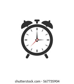Simple gray alarm icon isolated on white background. Web site page and mobile app design element. Flat design.