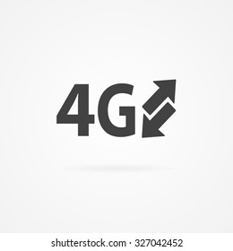 Simple gray icon of 4G text and arrows. Shadow and white background.