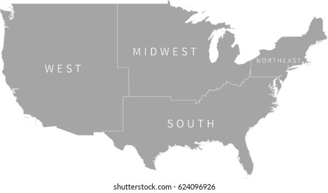 Simple Gray US Region Map