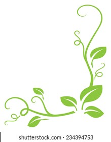 Simple green gradient free leafy border. Easy to change color.