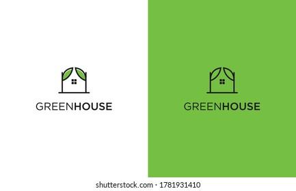 Simple Green House Logo Design Vector