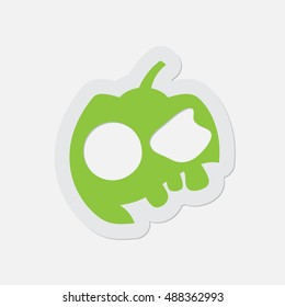 simple green icon with contour and shadow - Halloween pumpkin on a white background