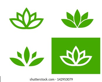 Simple green lotus plant - set of four vector illustrations