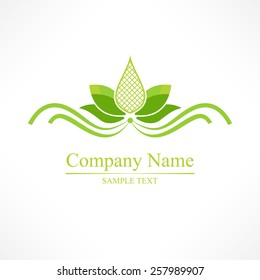 Simple green lotus, vector yoga icon  - graphic design element in outline style or logo template for spa center or yoga studio
