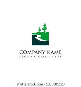 simple green modern square tree hill river logo design template