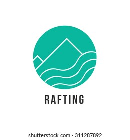 simple green rafting icon. concept of visual identity, lifestyle, survival, expedition, whitewater, fishing. isolated on white background. flat style trend modern brand design vector illustration