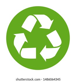 Simple green recycling symbol button