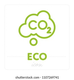 Simple green template of ecology icon with cloud and carbon dioxide formula inside on white background