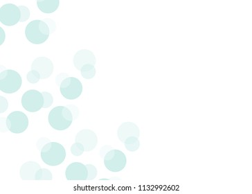 Simple greeting card with floating blue bubbles and space for text. Pastel colors. Circle background image. Gift tags, place cards, notecards, etc.