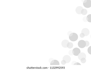 Simple greeting card with floating grey bubbles and space for text. Pastel colors. Gray circle background image. Gift tags, place cards, notecards, etc.
