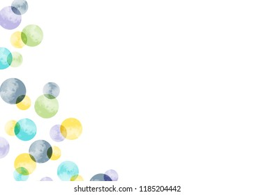 Simple greeting card with floating watercolor bubbles and space for text. Pastel colors. Circle background image. Gift tags, place cards, notecards, stationery and more.