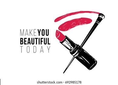 Simple greeting card with lipstick smear and brush. Professional makeup artist background. Black fashion illustration on white background. Hand drawn art in watercolor style
