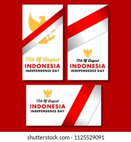 Simple greetings card Of Indonesia independence day