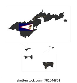 Simple Grey Map Of American Samoa (U.S.) With Flag Isolated On White Background,Map and National flag of American Samoa (U.S.),Vector Illustration Flag and Map of American Samoa (U.S.) for continue.