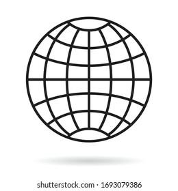Simple grid globe icon on white background