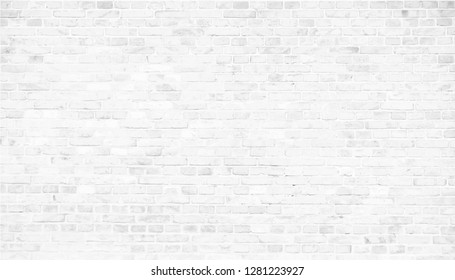 Simple grungy white brick wall with light gray shades seamless pattern surface texture background in wide panorama banner format. Vector illustration.