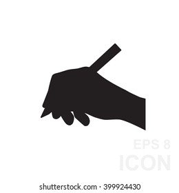 Simple hand and ball pen black vector icon silhouette isolated