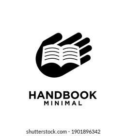 SIMPLE HAND BOOK MINIMAL VECTOR ILLUSTRATION LOGO ICON DESIGN