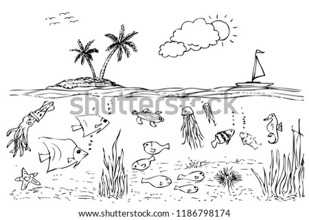 Simple Hand Draw Sketch Sea Life Stock Vector Royalty Free