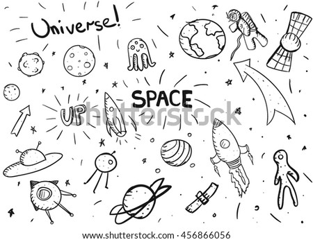Simple Hand Draw Space Set Easy Stock Vector Royalty Free
