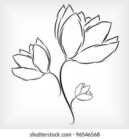Simple hand - drawing of beautiful three tulip flowers