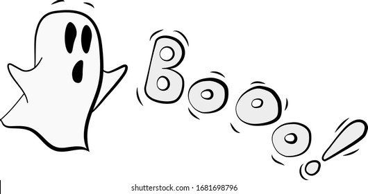"""simple hand drawing ghost shouts """"booo"""" cute illustrarion for stickers or tattoo"""