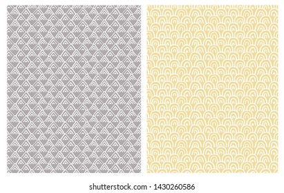 Simple Hand Drawn Abstract Triangles and Semi Circles Vector Patterns. Irregular Infantile Design with White Arcs and Triangles Isolated on a Gray and Yellow Backgrounds. Pastel Color Geometric Art.