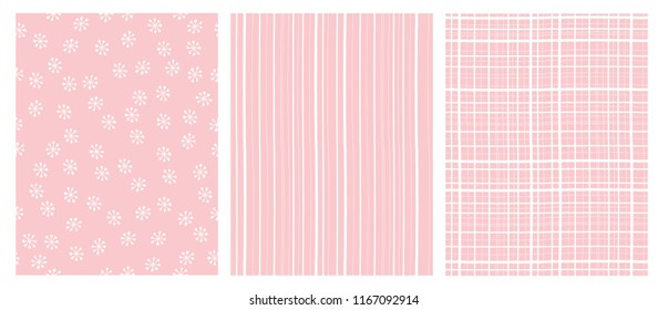Simple Hand Drawn Abstract Vector Patterns. White and Pink Infantile Design. Stripes, Grid and Snow Flakes. Pink Background.