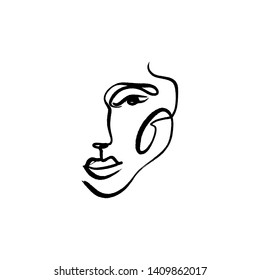 Simple hand drawn black and white trendy line drawing face. Abstraction. Monochrome print for clothes, textile and other. Vector illustration