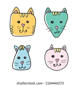 Simple, hand drawn cartoon cat face icon. Four color variations. Isolated on white