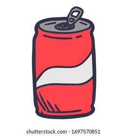 Simple hand drawn cartoon cola can