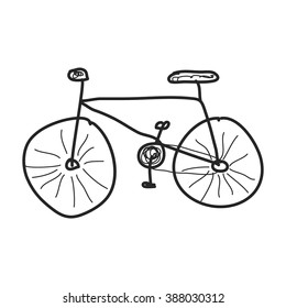 Simple hand drawn doodle of a bicycle