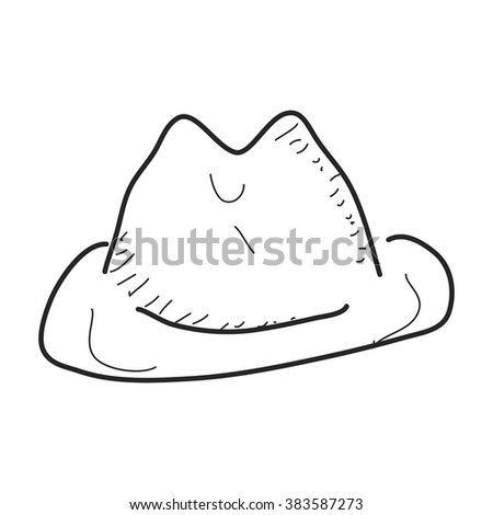 Simple Hand Drawn Doodle Cowboy Hat Stock Vector Royalty Free