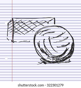 Simple hand drawn doodle of a football