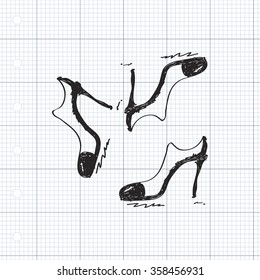 Simple hand drawn doodle of  ladies shoes