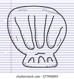 Simple hand drawn doodle of a shell