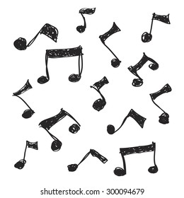 Simple hand drawn doodle of some music notes