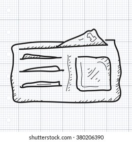 Simple hand drawn doodle of a wallet