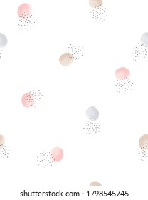 Simple Hand Drawn Dotted Seamless Vector Pattern. Pink, Gold and Gray Irregular Dots on a White Background. Pink, White and Brown Dots on a White Background. Abstract Geometric Print.